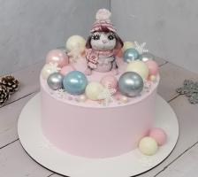 """Торт """"Розовый с Мышонком"""""""
