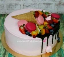 Торт Рожек с ягодами
