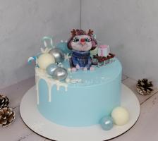 """Торт """"Голубой с Мышонком"""""""